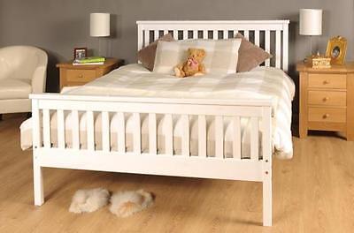 King Size Bed White 5ft KingSize Bed Wooden Frame White