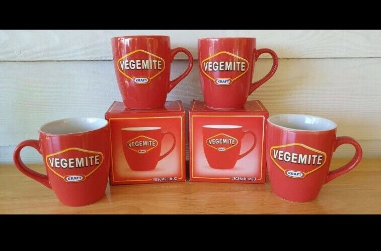 4 x Vegemite Red Coffee or Tea Mugs (2 boxes) Excellent Condition Australian