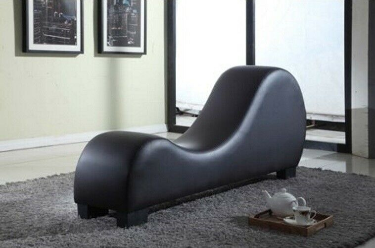 Chaise Lounge Yoga Chair Recliner Sex Sofa Loveseat Black Fa