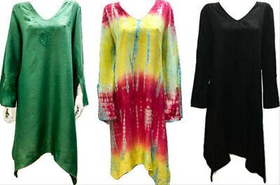 Übergröße Hippie Boho Taschentuch Saum Bestickt V - Halsausschnitt Tunika Kleid (Taschentuch Saum Kleider)