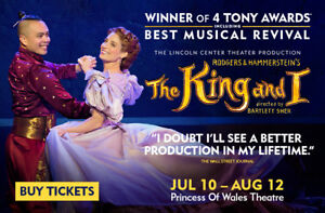 'The King and I' theatre tickets July 28, 2018 2pm - 4 tickets