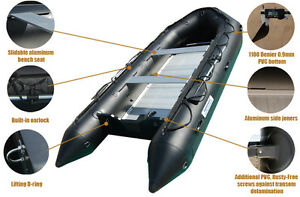 14 ' INFLATABLE BOAT PRO MILITARY BLACK