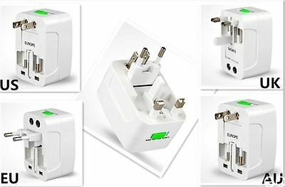 2pc World Wide Power Adapter Wall Charger Socket Travel Plug Converter US EU AU