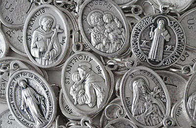 Bulk Religious Medal Variety Pack - 50 qty - SILVER PLATED - Italian Made (Bulk Medals)