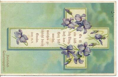 583452) Geburtstagskarte mit Bibelvers gelaufen um 1915 ()