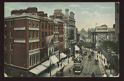 Ireland DUBLIN Grafton Street 1907 PPC Medical Hall Hamilton Long & Co tram #15