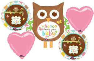 WHO LOVES YOU BABY OWL BABY SHOWER BALLOONS BOUQUET SUPPLIES DECORATION GIRL BOY