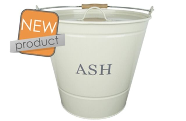 Manor Ash Bucket With Lid Cream 0349 Metal Fire side Fireside