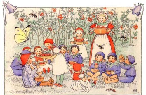 Elsa Beskow Postcard Peter and Blueberry Children Fairy Tale Tomte Elf