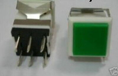 Green Square Push Button Dpdt Panel Pcb Off-on Momentary Switch Push To Make