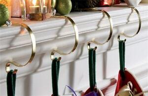 SET OF 4 BRASS CHRISTMAS STOCKING HOOKS HANGER MANTEL CLIPS HOLDER