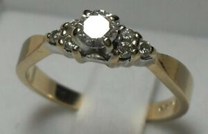 Vintage - 14kt yellow gold Diamond Engagement Ring - Size 6.50