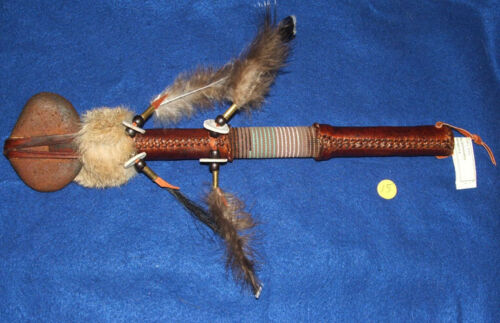 "16"" Stone War Club w/ Bead Wrap Authentic Native American Indian Handmade #15"