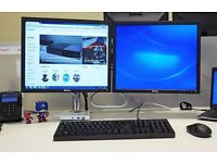 2 x Humanscale M8 Dual Screen Arm / Stand (with 2 scree Crossbar)