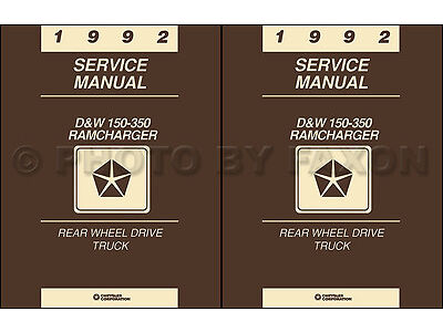 1992 Dodge Pickup Truck Ramcharger Repair Shop Manual Gas and Diesel DW 150-350