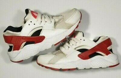 Nike Huarache Run GS Youth Size 4Y  White Red Black (654275-102) Sneakers Laces