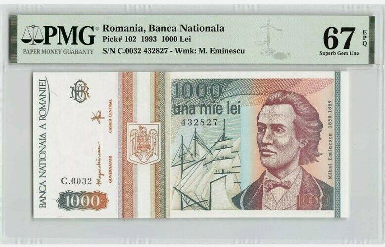 1993 1000 LEI Romania Banknote . PMG 67EPQ  P#102 - NR