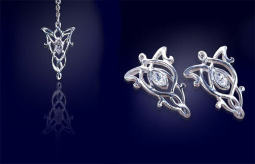 LOTR Lord of the Rings Arwen Crystal Necklace & Earrings Sterling Silver
