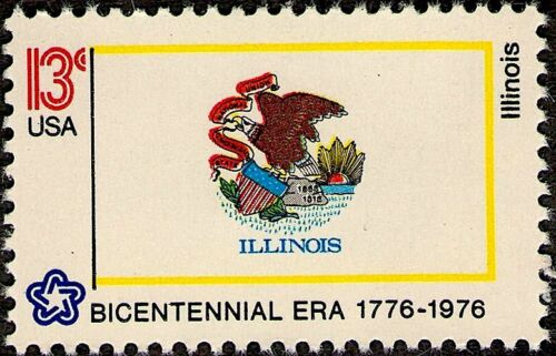 1976 Mint 13¢ ILLINOIS FLAG STAMP US USA American State Flags Bicentennial #1653