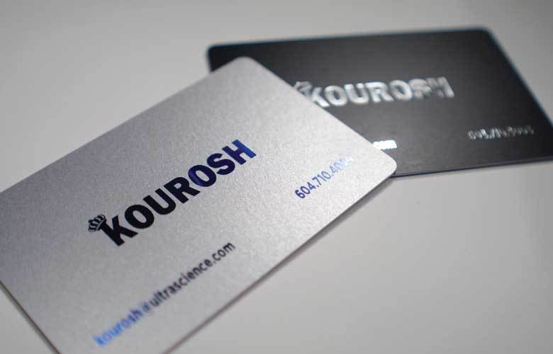 1000 Business Cards on 14pt Silvery Metallic Paper