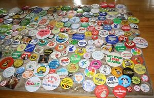 35+ year old pin back button collection (150+ pieces)