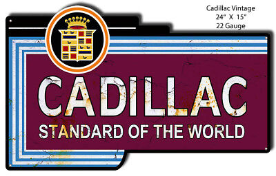 Distressed Cadillac Reproduction Laser Cut Out 15x24