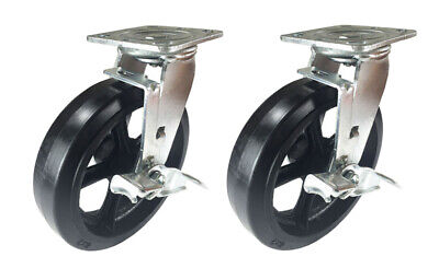 2 Caster Set 4 5 6 8 Rubber On Cast Iron Rigid Swivel Brake Total Lock