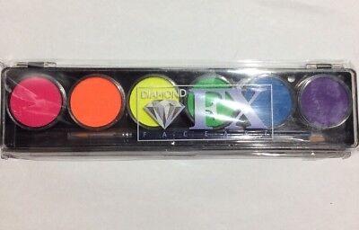 Diamond FX Face Paint Neon Black light Palette FSM6-N 6 Color 10 Gm 2 Brushes
