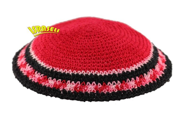 Red Kippah - Knitted - Jewish Yamaka - hat cap judaica