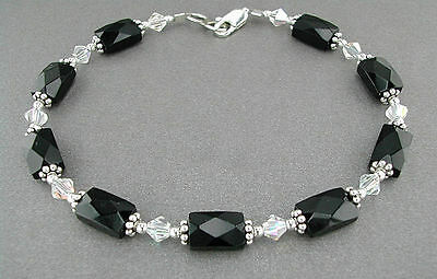 Faceted Black Onyx Bracelet or Anklet with Swarovski Crystal and Sterling Silver