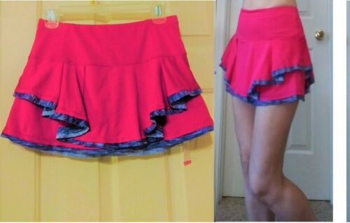 Nwt Lucky In Love Tennis Skirt Skort Shorts L Large NEW Pink Pleated Ruffled