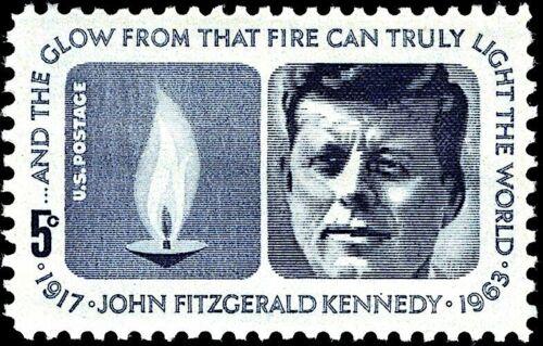 2 JOHN F KENNEDY MEMORIAL STAMPS: Eternal Flame, Arlington National Cemetery, DC