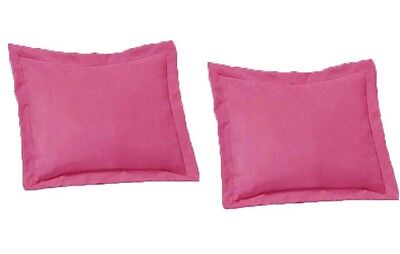 2 Piece Queen Size Shams Solid Pink Cover Case Micro Suede D