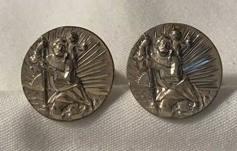 Vintage Sterling Silver Cufflinks Saint Christopher Diamond Cut
