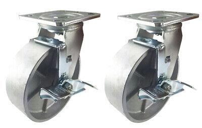 2 Heavy Duty Caster Set 4 5 6 8 Steel Wheels Rigid Swivel Brake Total Lock