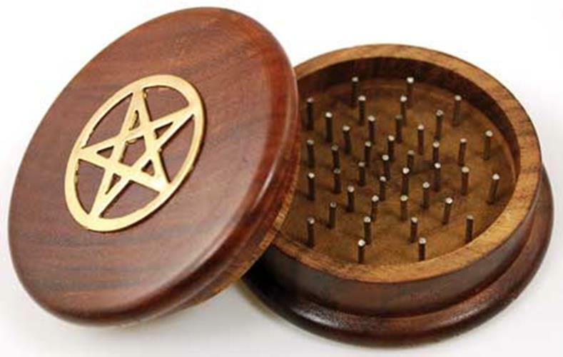 Wood Tobacco Herb Spice Grinder Brass Inlayed Pentagram Kitchen Witchery Wicca