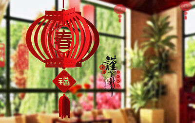 2 pcs 3D Red Lantern Spring Festival Decoration Chinese New Year Party Gift
