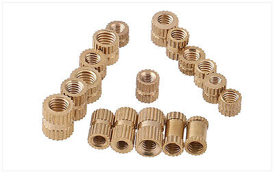 Knurl Insert Nut Threaded Metric Brass Round Copper Embedded Locknut M1.4 ~ M4