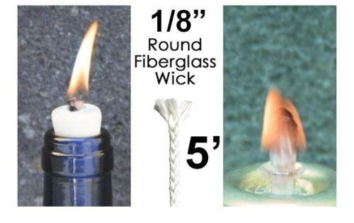 1/8 5' Buy 2 Get 1 Round Fiberglass Wick Kerosene Lamp Tiki Torch Bottle Oil USA