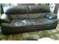 Brown leather 3 and 2 setter settee