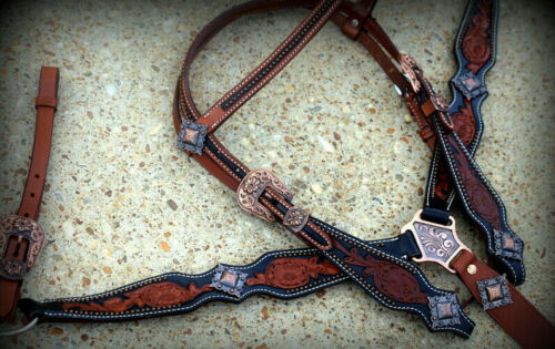 Western Saddle Horse Bridle Headstall + Breast Collar Tooled Leather Tack Set