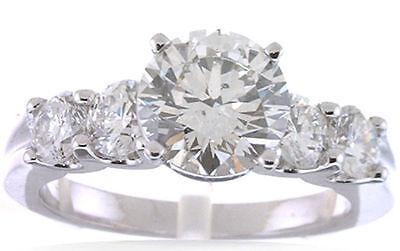 2 carat Round Diamond Engagement Wedding Solitaire Gold Ring w/ 4 x 0.30 ct