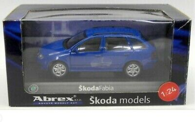 1:24 Maßstab Modell Skoda Fabia 6Y Combi 2000 Mk1 Blau Druckguss Abrex Auto