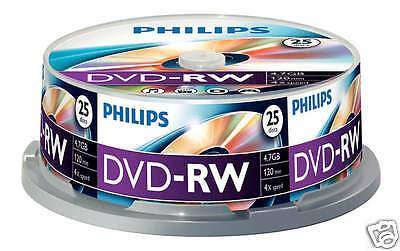 Philips DVD-RW 4.7 GB, 4x Speed, Cakebox 25 Stück