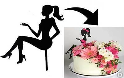 Topper plexiglas x torta ragazza girl decorazione cake design pasticceria 23x23