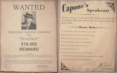 Al Capone Poster Set, Wanted, Speakeasy Rules, gangster, scarface, speak easy