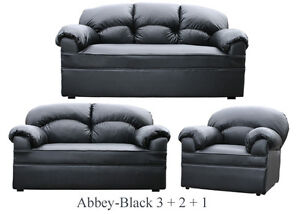 NEW BLACK LEATHER SOFA 3 + 2 + 1 SOFAS COUCH SUITE SETTEE