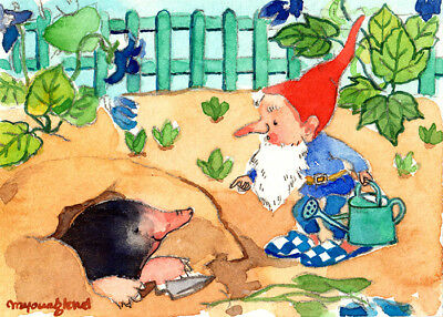 "Art print 2.5""x3.5""-Garden gnome scolds mole for a digging hole, vintage art"