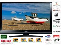Stylish Gloss Black TOSHIBA 42 Inch FULL HD 1080P 100HZ DOLBY LCD TV, FREEVIEW, USB PLAYBACK