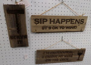 Reclaimed Wood Humorous Signs - Blue Jar Antique Mall